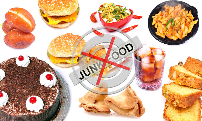 Junk food. Concept image of junk food over white background royalty free stock photos