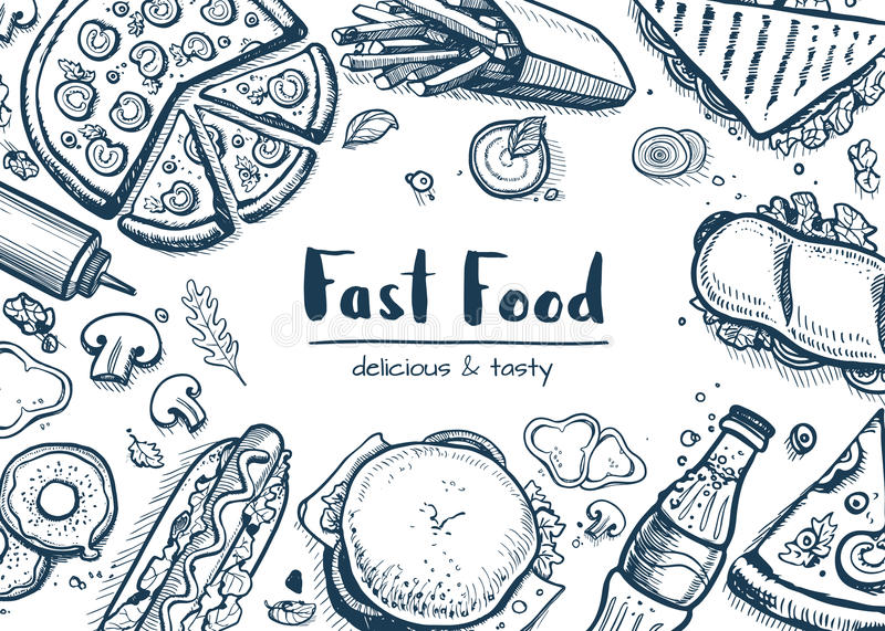 Junk food background with snack collection royalty free illustration