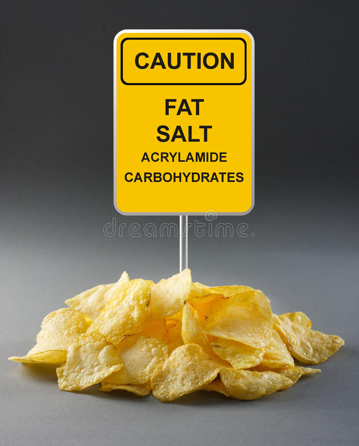 Junk food concept. Potato chips stock image