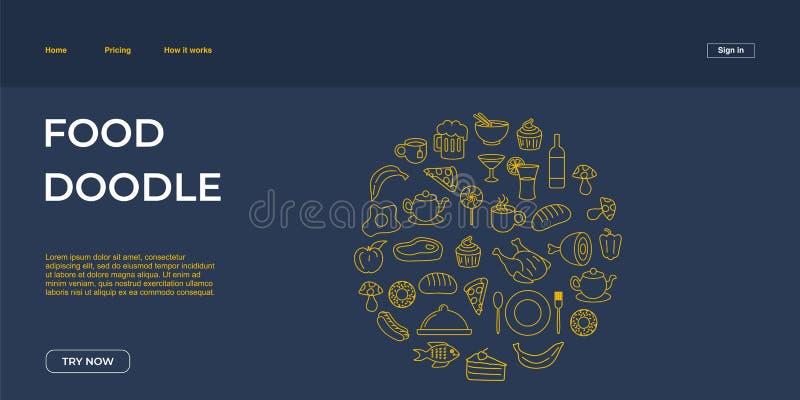 Junk food doodle web landing page template vector illustration stock illustration