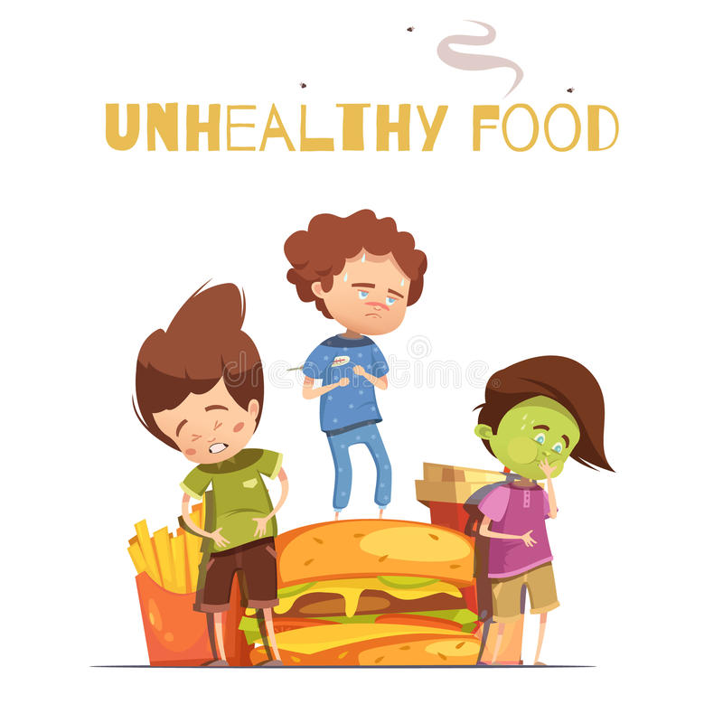Junk Food Harmful Effects Cartoon Poster. Unhealthy junk food harmful effects warning retro cartoon poster with hamburger and sick looking children vector stock illustration