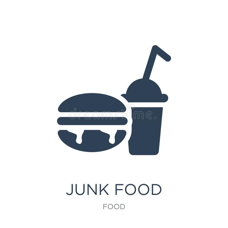 Junk food icon in trendy design style. junk food icon isolated on white background. junk food vector icon simple and modern flat. Symbol for web site, mobile stock illustration