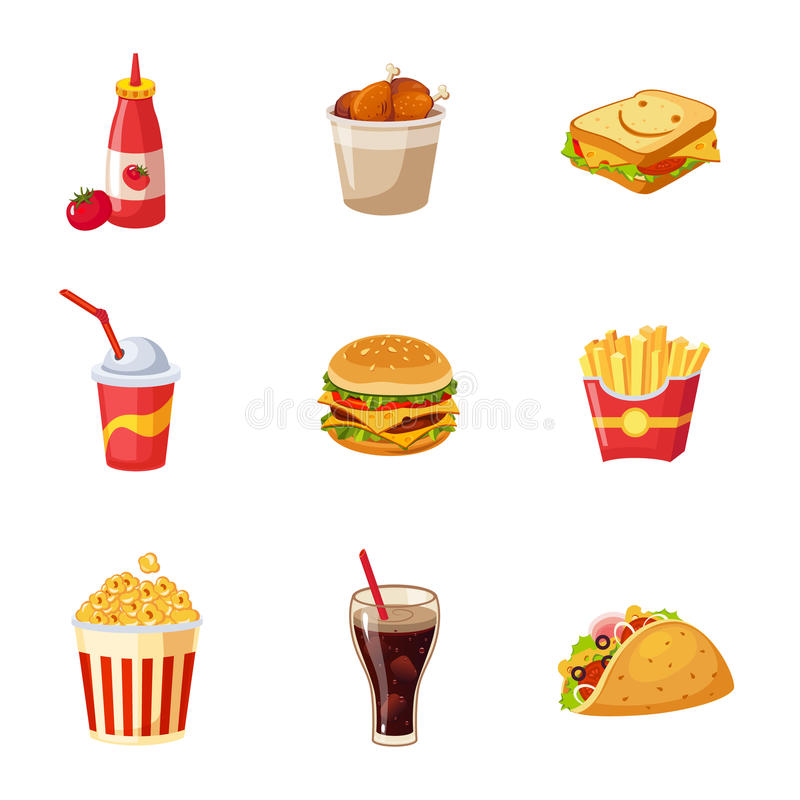 Junk Food Items Set royalty free illustration