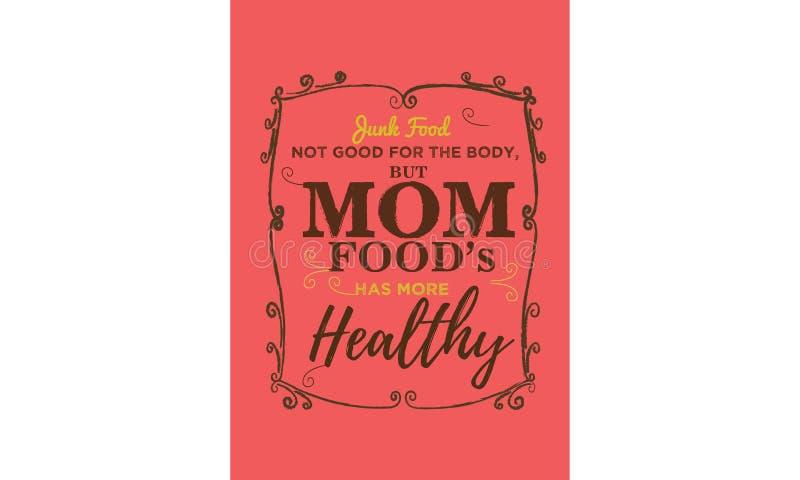 Junk Food no bueno para el cuerpo, pero las comidas de la mamá, tiene más sano ilustración del vector