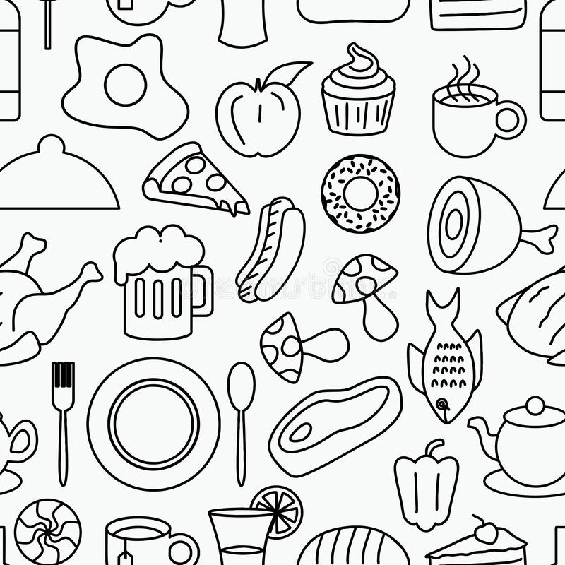Junk food seamless pattern doodle drawing style. Line art hand drawn background vector illustration stock illustration