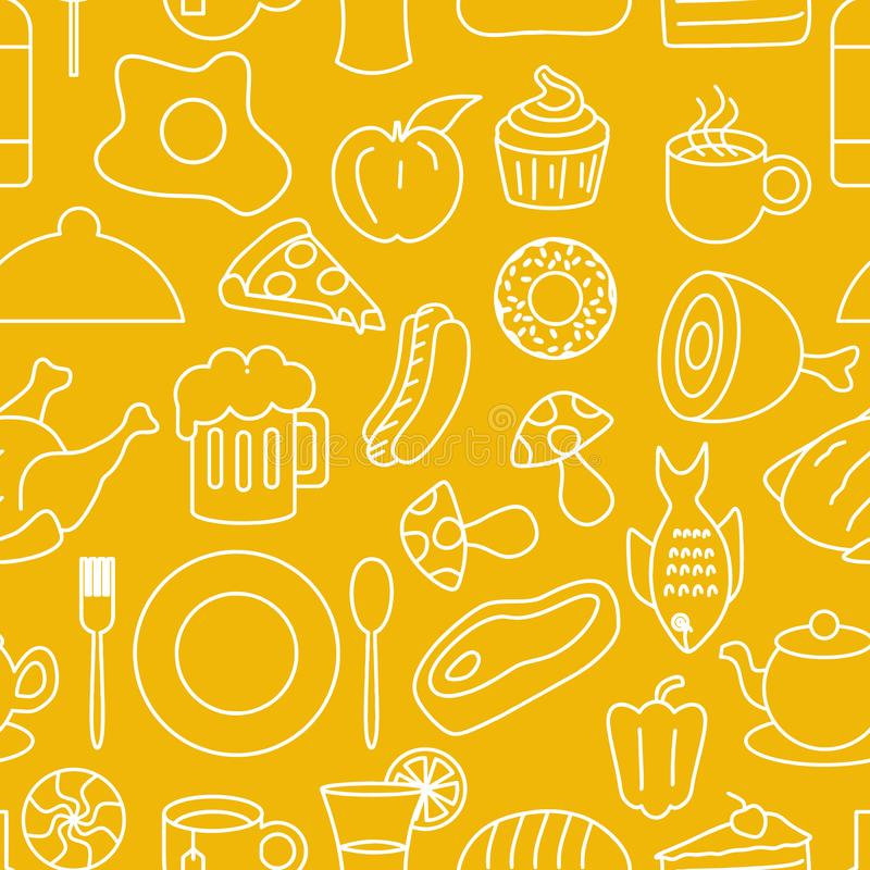 Junk food seamless pattern doodle drawing style. Line art hand drawn background vector illustration royalty free illustration