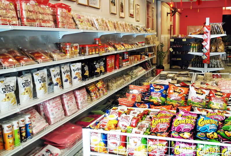 Junk Food Shop. Junk food for sale in shop royalty free stock photography