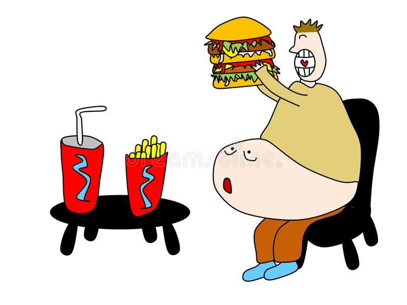 Junk food. Stomach is terrified and had enough of junk food vector illustration