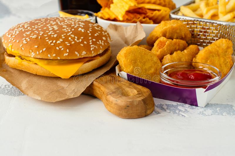 Assortment of fast food stock images