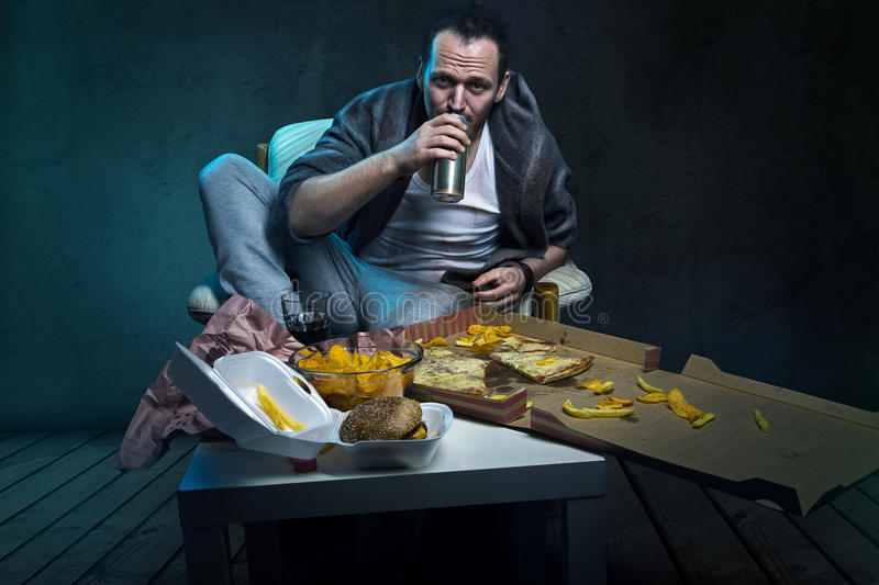 Junk food. Whole table full of fast food stock images