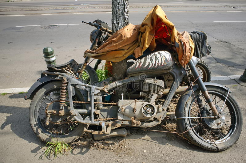 Junk motorcycle abandoned royalty free stock photo
