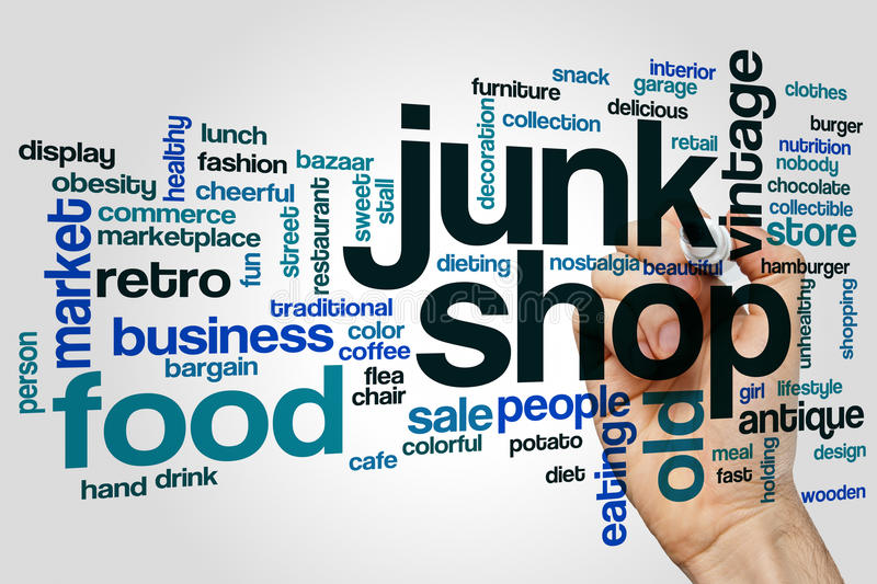 Junk shop word cloud. Concept on grey background stock images