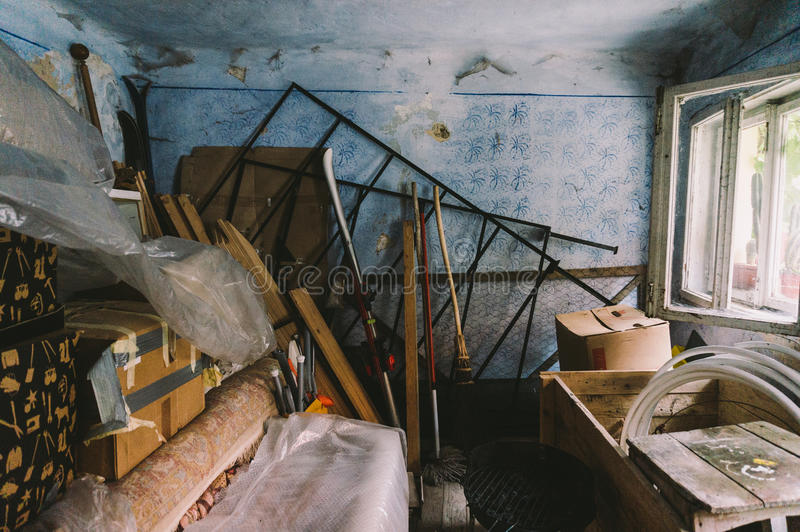 Junk storage room. Junk storage or garage room stock images