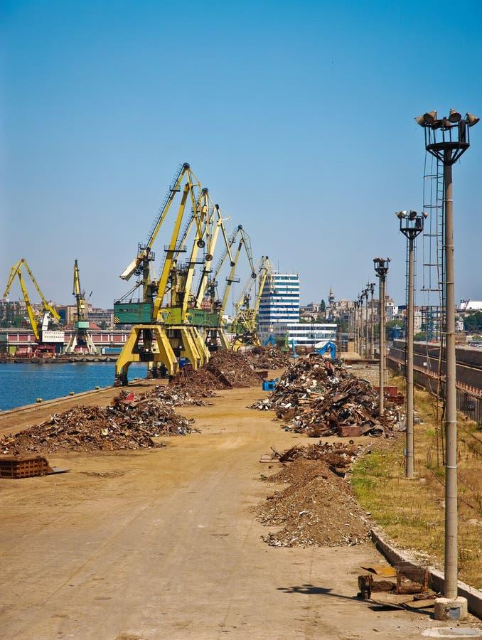 Junkyard and crane royalty free stock images