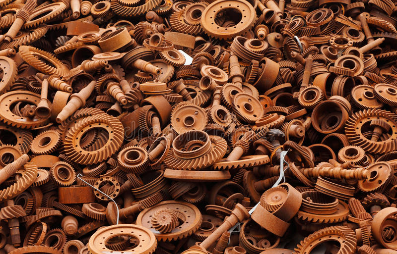 Junkyard. With rusty machinery parts royalty free stock photography