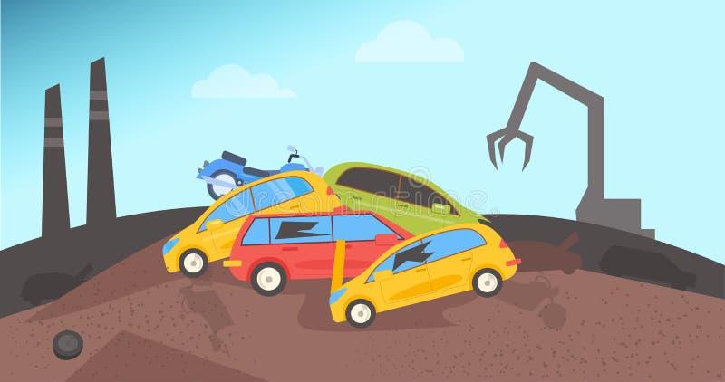 junkyard Stortplaats voor auto's royalty-vrije illustratie