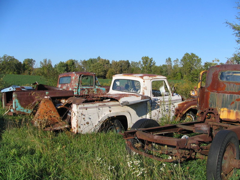 Download Junkyard Trucks stock photo. Image of classic, rusty, clouds - 3342530