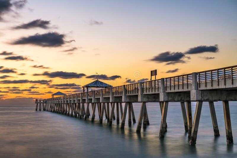 Juno, Florida, USA at the Juno Beach Pier. During sunrise stock photo