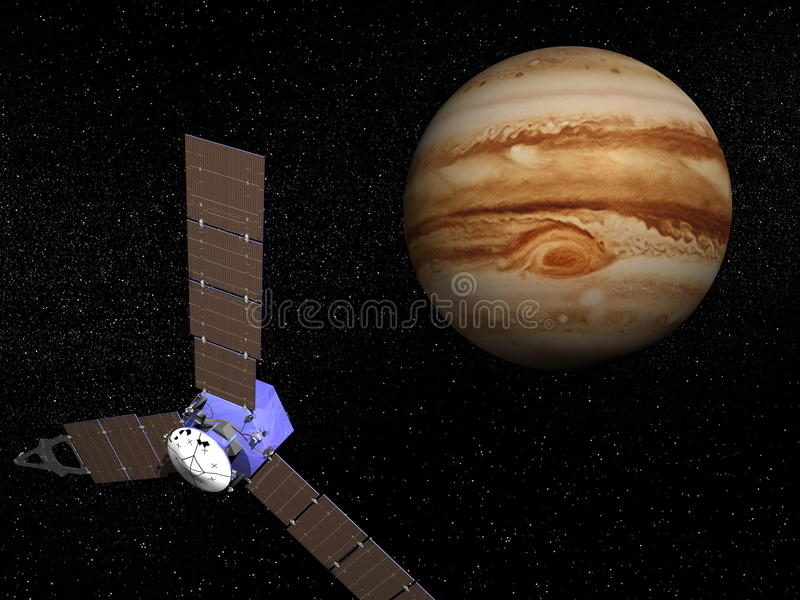 Juno Raumfahrzeug nahe Jupiter - 3D übertragen vektor abbildung