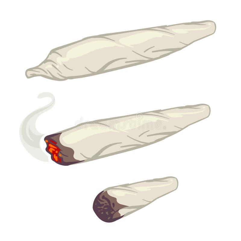Junta de la marijuana, spliff, ejemplo del vector del cigarrillo de la droga que fuma stock de ilustración