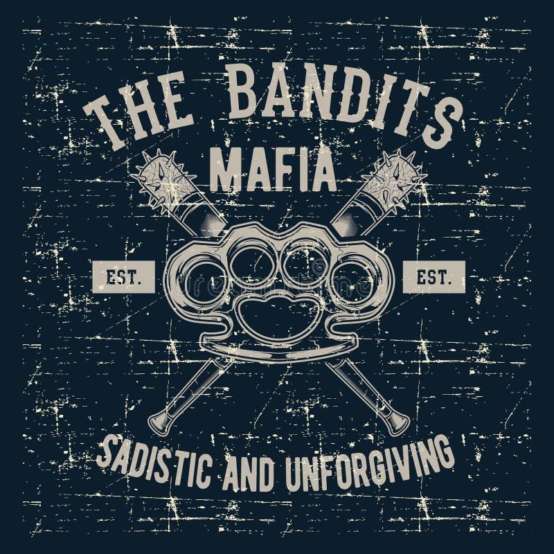 Junta do emblema do logotipo do vintage do estilo do Grunge com bastão de beisebol, vetor do desenho da mão da máfia dos bandidos ilustração stock