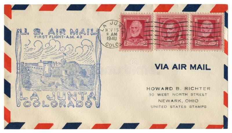 Junta do La, Colorado, Os EUA - 15 de novembro de 1940: Envelope histórico dos E.U.: tampa com voo do correio aéreo do prestígio  foto de stock