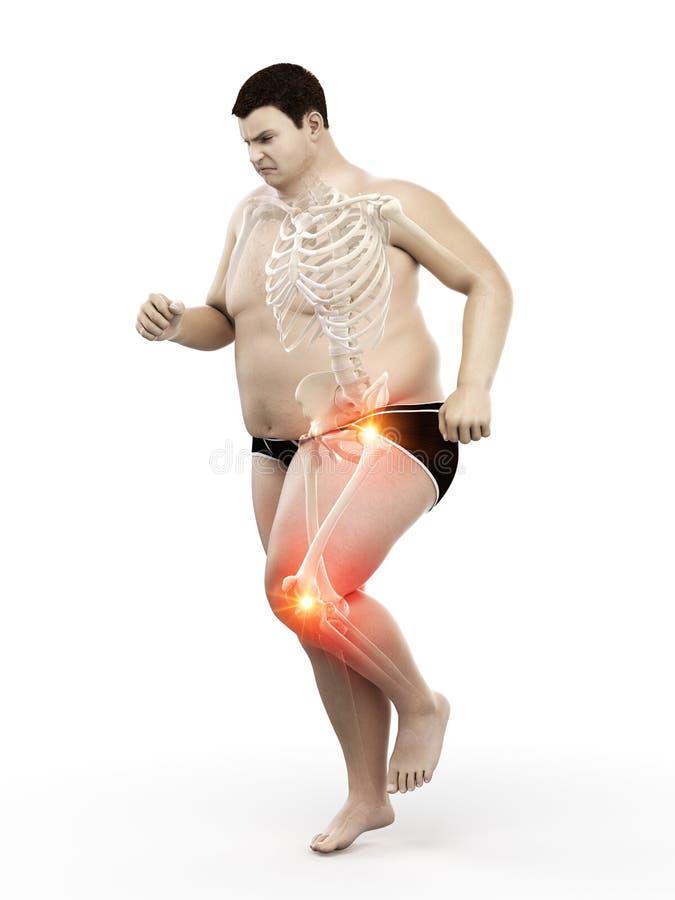 juntas dolorosas de los corredores obesos stock de ilustración