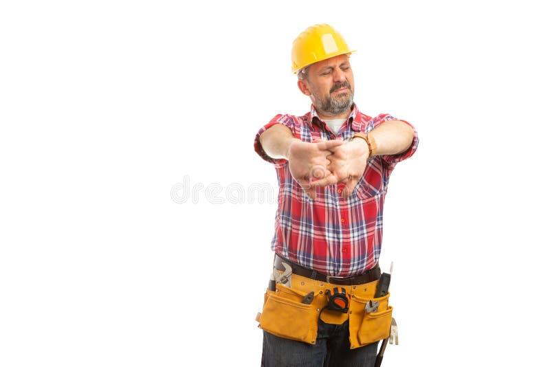 Juntas que se agrietan del constructor como preparación imagen de archivo