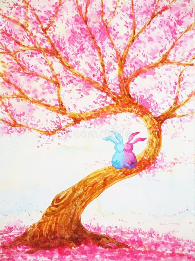 Junte al amante de los conejos que se sienta bajo pintura de la acuarela del día de tarjetas del día de San Valentín de árbol de  stock de ilustración