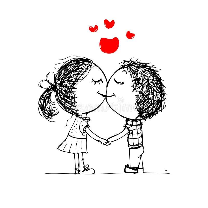 Junte besarse, bosquejo de la tarjeta del día de San Valentín para su diseño ilustración del vector