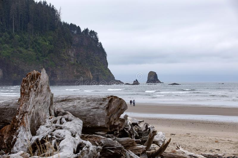 Junte caminar a través de la playa del Océano Pacífico de Oregon fotografía de archivo libre de regalías