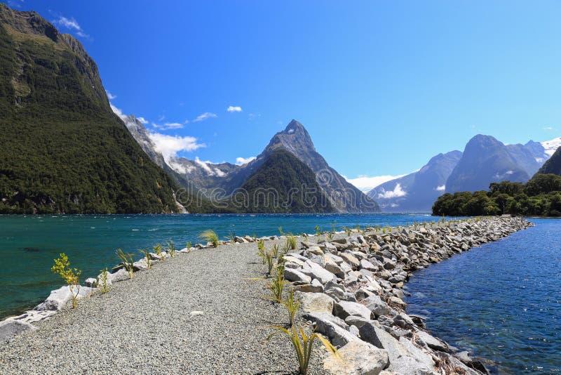 Junte con junta a inglete el pico en el parque nacional de Fiordland, isla meridional, nuevo celo imágenes de archivo libres de regalías