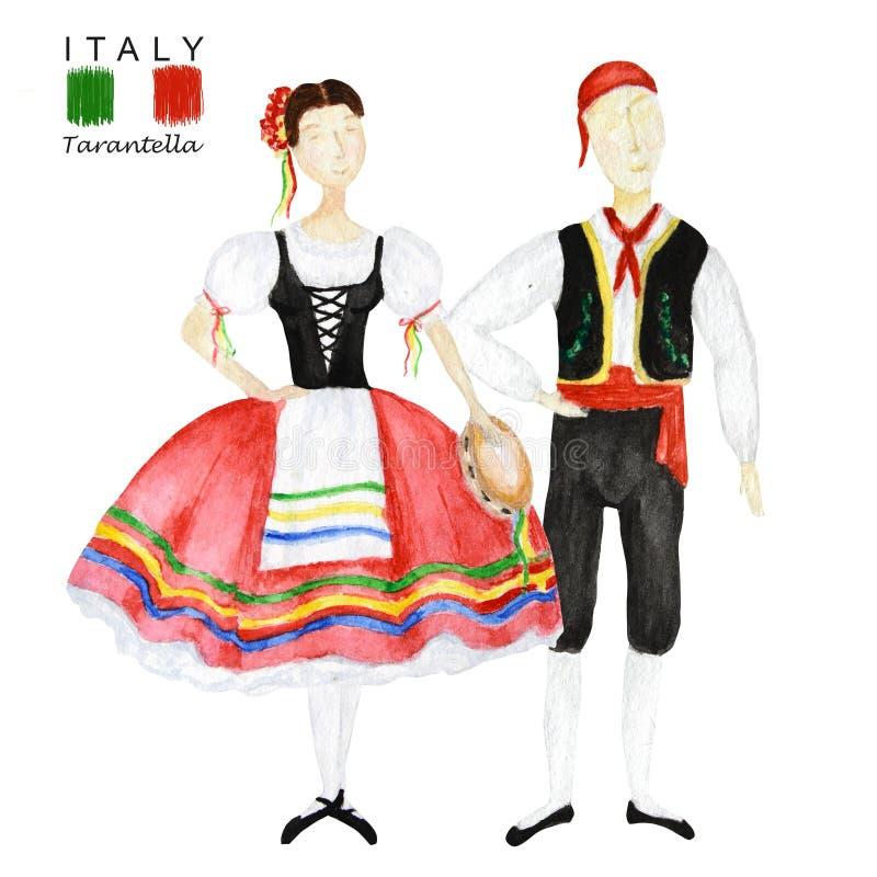 Junte de bailarines en traje nacional rojo una tarantela italiana con una pandereta en el fondo blanco Mujer y hombre fotos de archivo