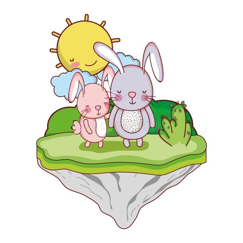 Junte el animal del conejo en la isla del flotador stock de ilustración