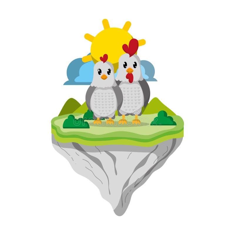 Junte el animal del pollo en la isla del flotador stock de ilustración
