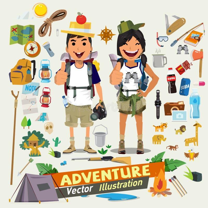 Junte el diseño de carácter de la aventura con el equipo survial del icono Adventu ilustración del vector