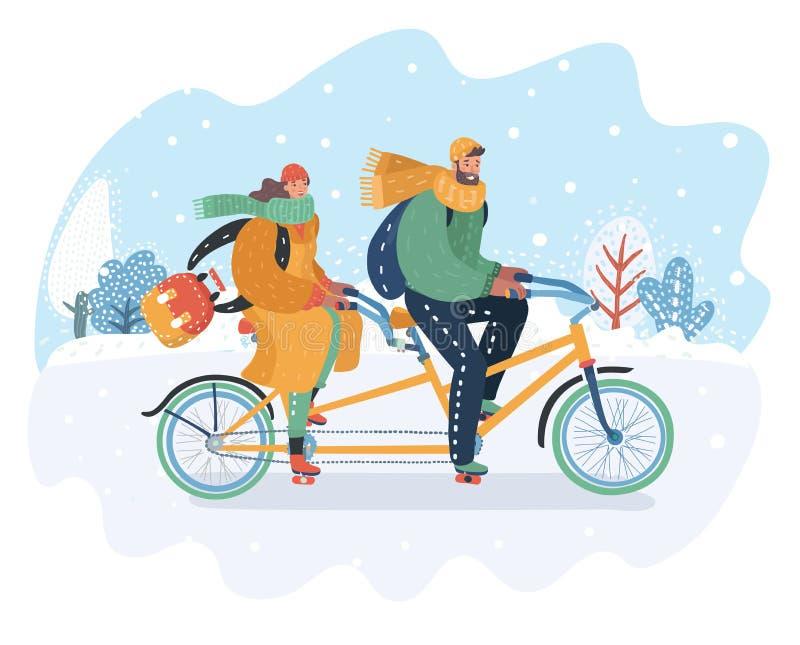 Junte el montar a caballo en la bici en tándem en el paisaje nevoso stock de ilustración