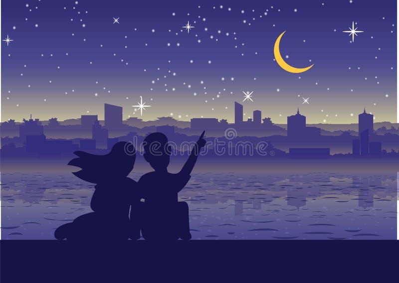 Junte el punto para estar en la luna en la ciudad cerca de la orilla, estilo de la silueta libre illustration