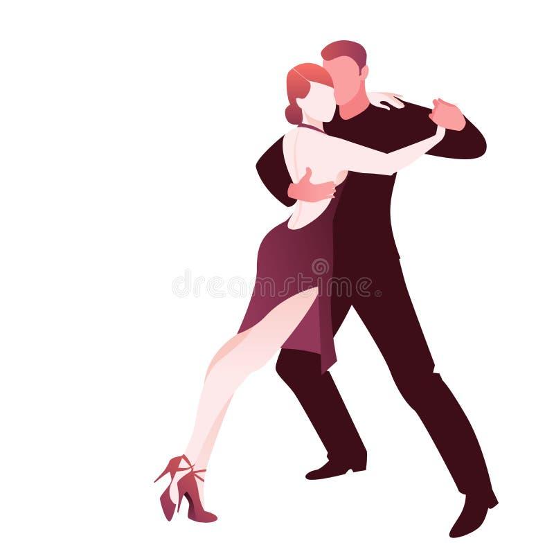 Junte el tango apasionado de baile de Argentina, aislado en el fondo blanco stock de ilustración
