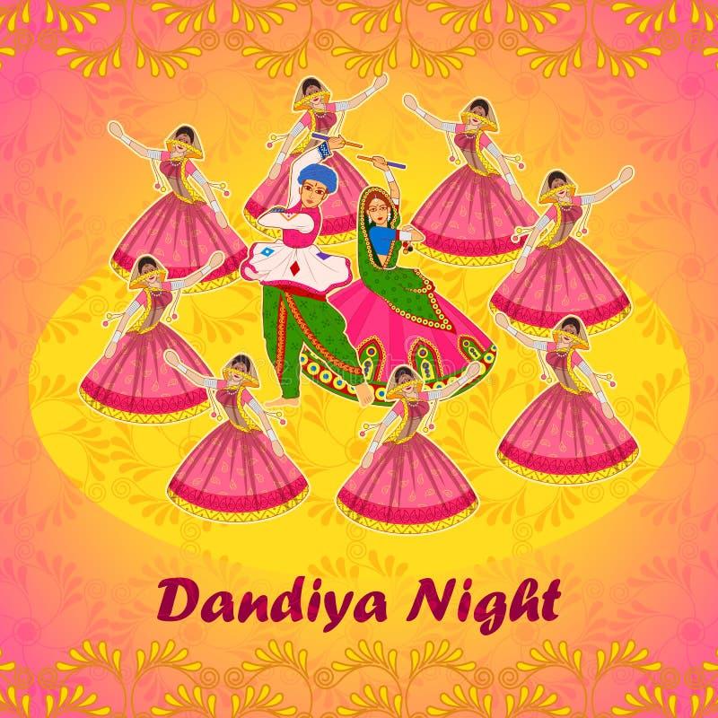 Junte jugar Garba en el festival de Navratri Dussehra de la noche de Dandiya stock de ilustración