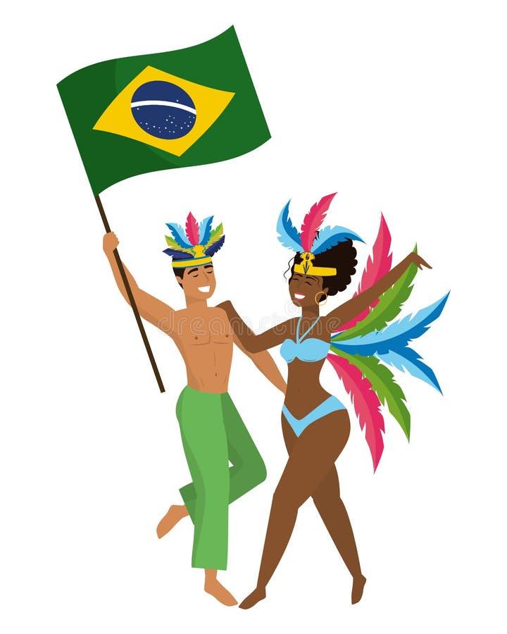 Junte la celebración del Brasil canival stock de ilustración