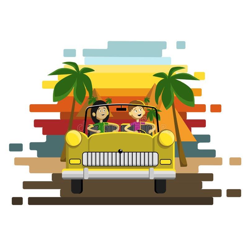 Junte la conducción de un coche retro de oro en las pirámides y fondo de las palmeras Carácter descuidado del conductor Illustra  stock de ilustración