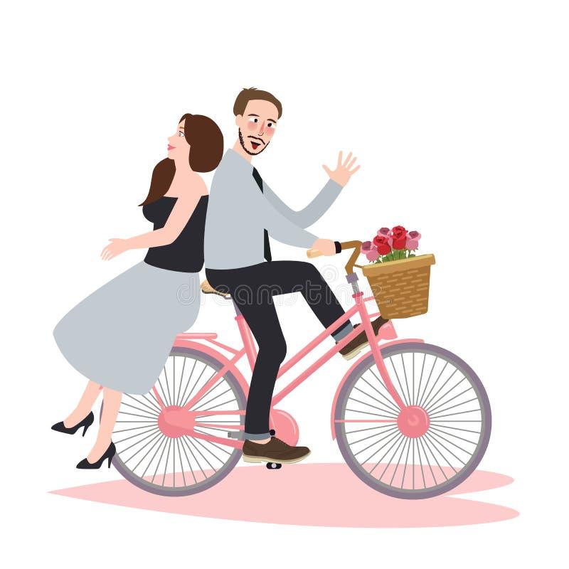Junte la datación hermosa romántica de la bicicleta de la bici del montar a caballo que ríe la felicidad junta stock de ilustración