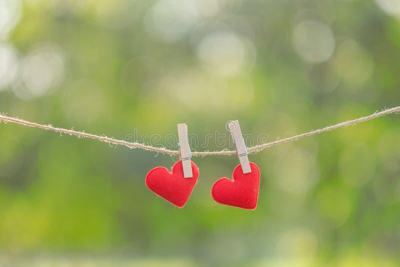 Junte la decoración roja de la forma del corazón que cuelga en línea con el espacio de la copia para el texto en fondo verde de l imagen de archivo