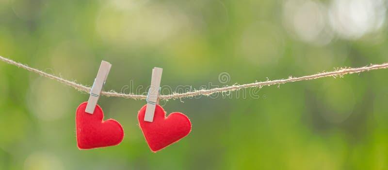 Junte la decoración roja de la forma del corazón que cuelga en línea con el espacio de la copia para el texto en fondo verde de l fotografía de archivo