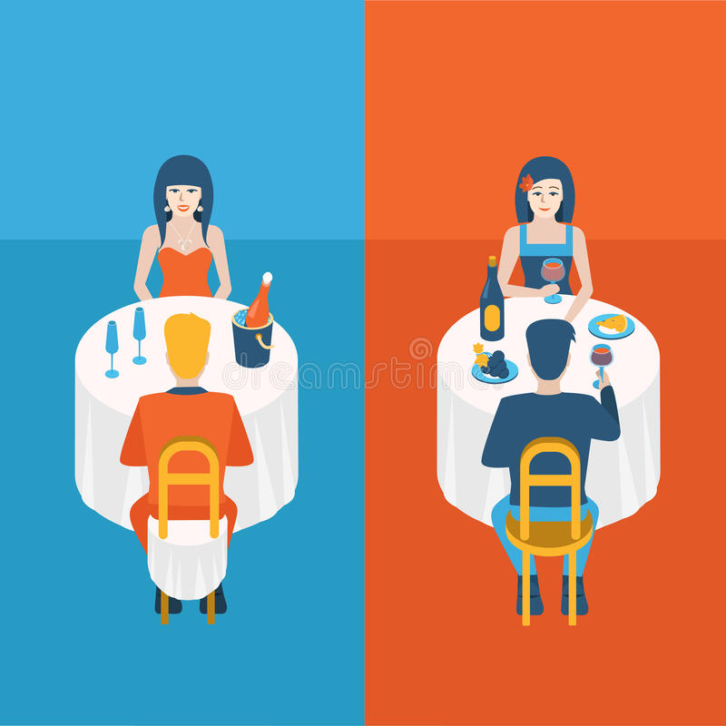 Junte la fecha en champán de consumición del restaurante en vector plano libre illustration