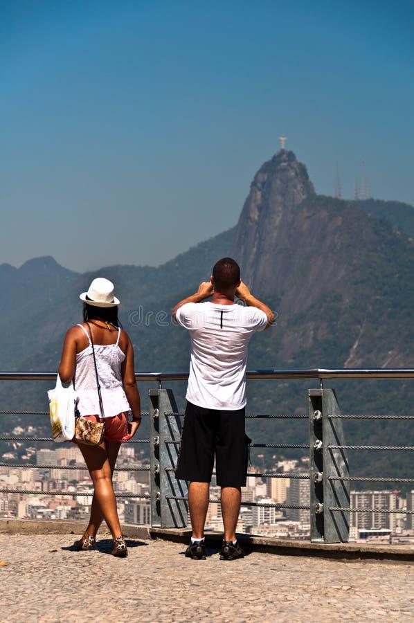 Junte la fotografía de Cristo el redentor en Rio de Janeiro, el Brasil foto de archivo libre de regalías
