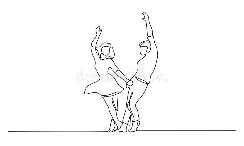 Junte la línea continua del baile de la mujer y del hombre libre illustration