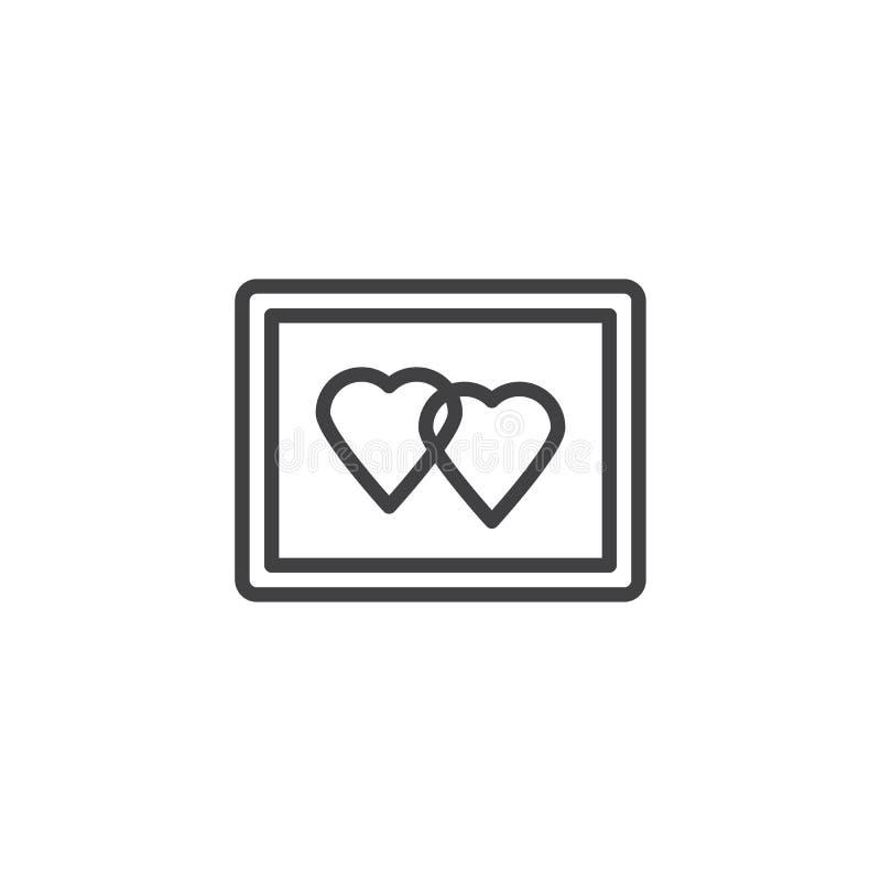 Junte la línea de marco de la foto de los corazones icono ilustración del vector