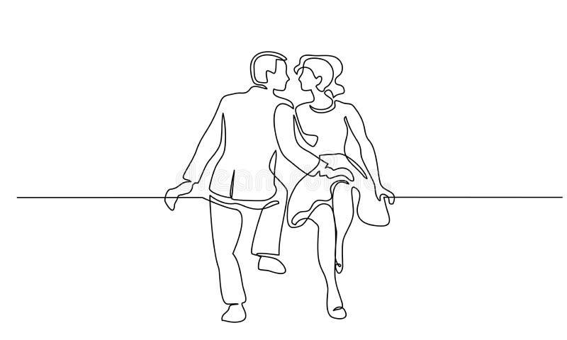 Junte la mujer y al hombre que sientan la línea continua ilustración del vector